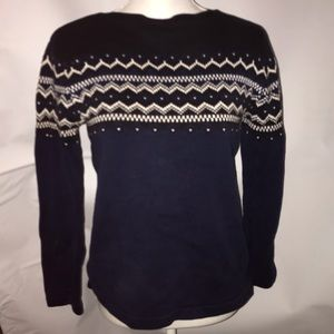 Eddie Bauer small blue and white cotton sweater
